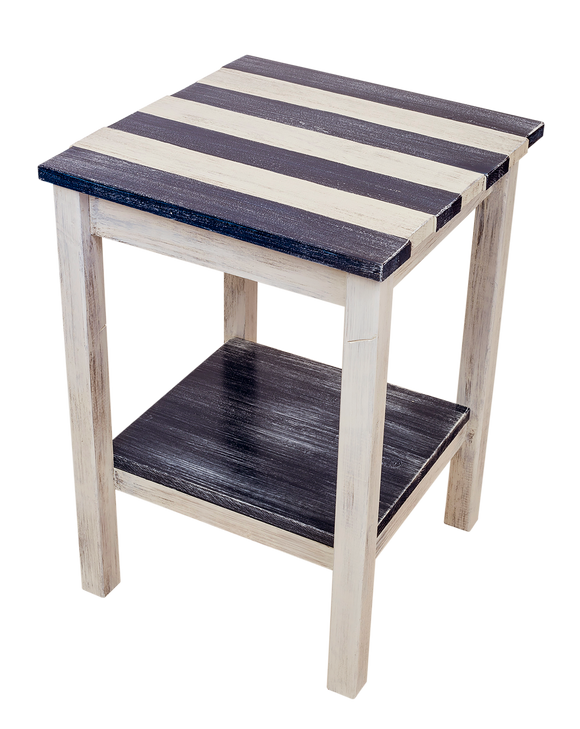 Cottage/Weathered Navy All Wood End Table with Uneven Top and Shelf