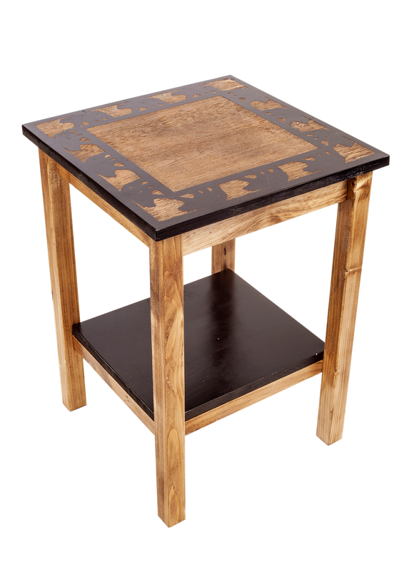 Stain/Black All Wood End Table with Bear Boarder Scene and Shelf