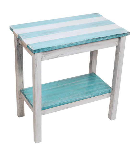 Cottage/Turquoise Sea Stripe All Wood 14