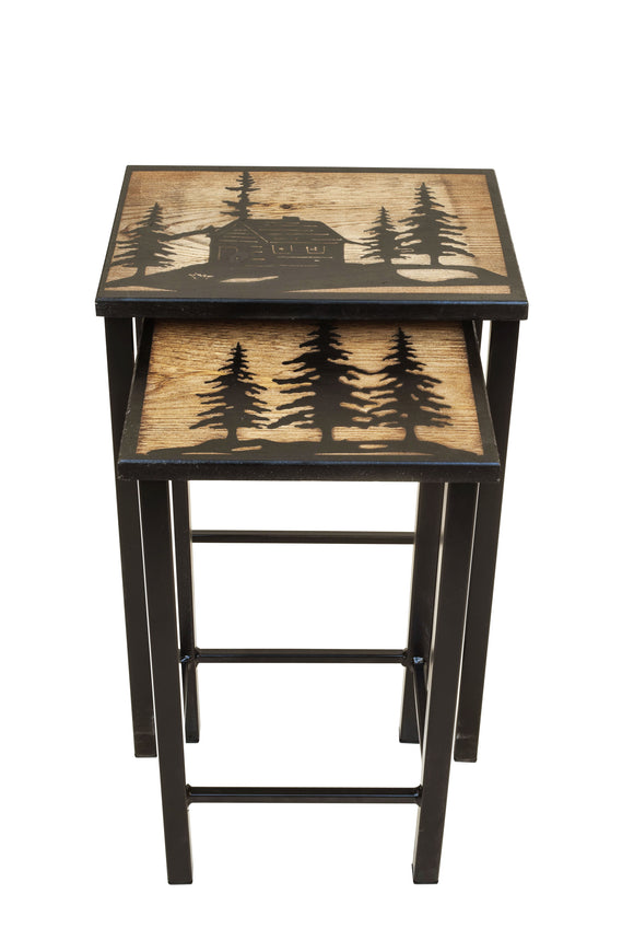 Black/Stain Nesting Iron/Wood Drink Tables with Cabin and Trees Accent