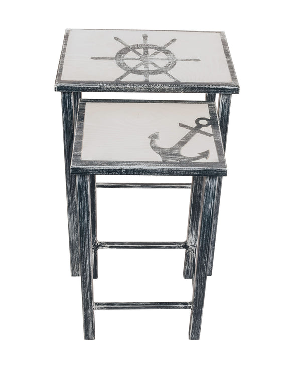 Navy/Cottage Nesting Iron/Wood Drink Tables with Captains Wheel and Anchor Accent