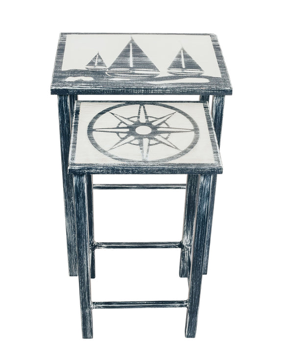 Navy/Cottage Nesting Iron/Wood Drink Tables with Sailboat and Nautical Compass Accent