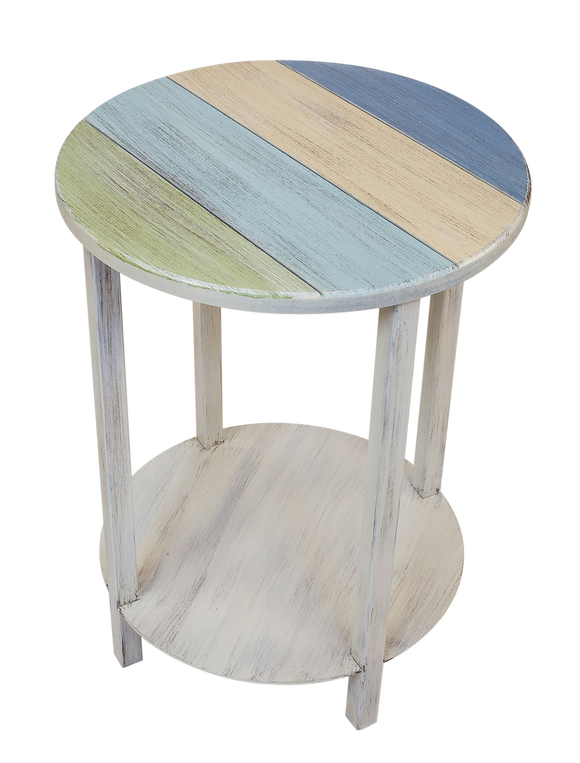 Cottage/Multi Color Accent Round End Table with Striped Top