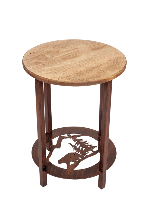 Burnt Sienna Round Iron/Wood End Table with Bear Scene