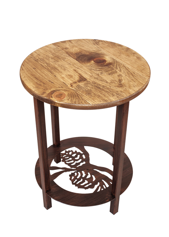 Burnt Sienna Round Iron/Wood End Table with Pine Cone Scene