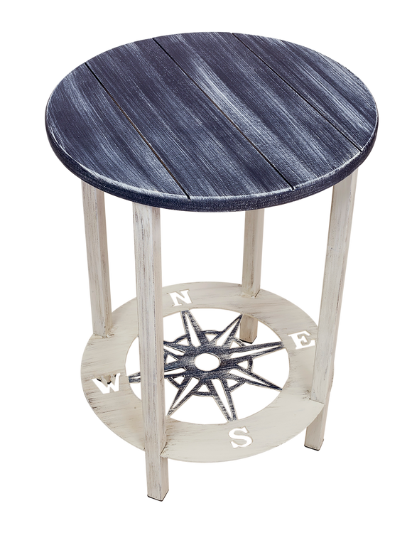 Cottage/Navy Accent Round End Table with Compass Accent