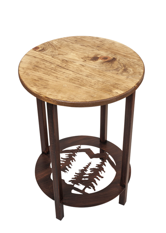 Burnt Sienna Round Iron/Wood End Table with Feather Tree Scene