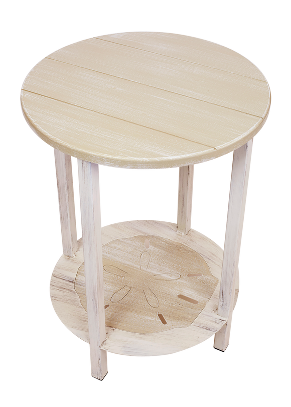 Cottage/Sisal Accent Round End Table with Sand Dollar Accent