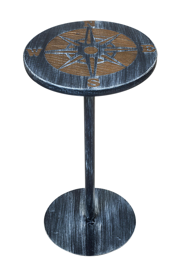 Weathered Navy/Weathered Stain Round Iron Drink Table with Etched Compass Top