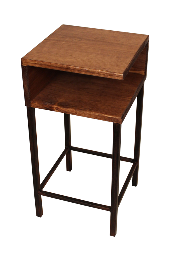 Burnt Sienna/Stain Iron Drink Table with Shelf and Wooden Top - Coast Lamp Shop