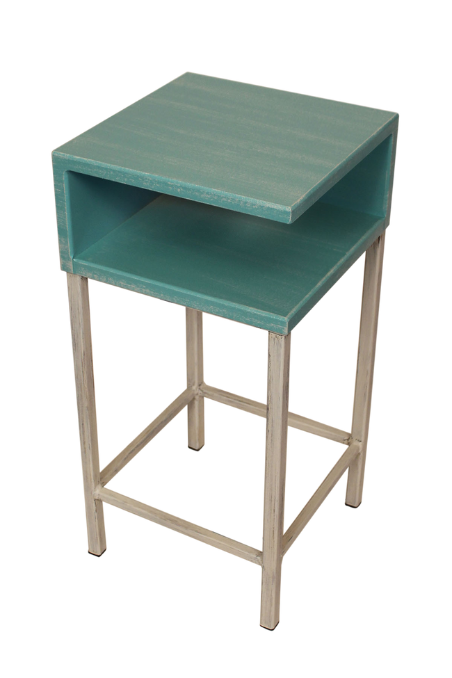 Cottage/Turquoise Sea Iron Drink Table with Wooden Shelf and Top - Coast Lamp Shop