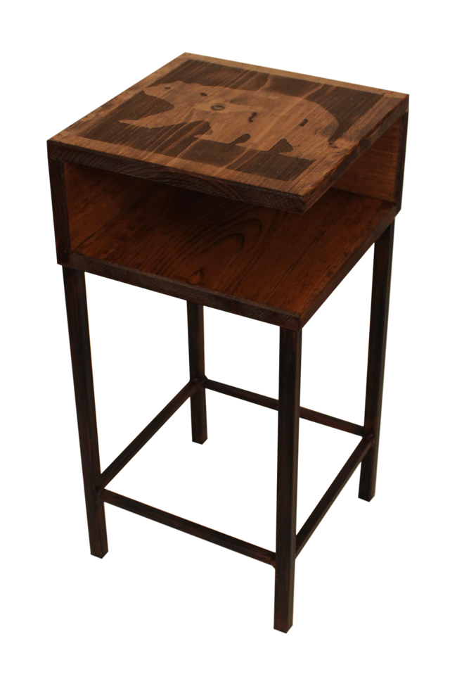 Burnt Sienna/Stain Iron Drink Table with Shelf and Bear Top - Coast Lamp Shop