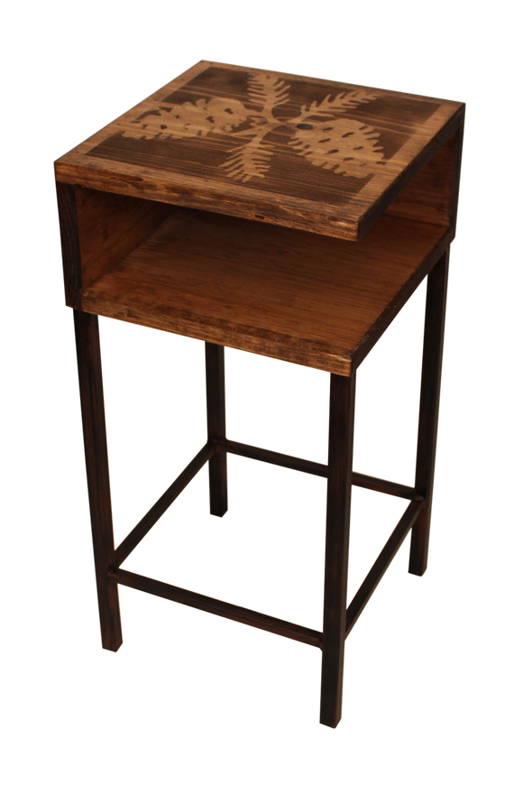 Burnt Sienna/Stain Iron Drink Table with Wooden Shelf and PineCone Top - Coast Lamp Shop