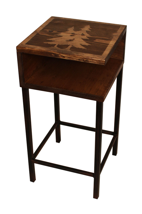 Burnt Sienna/Stain Iron Drink Table with Wooden Shelf and Pine Tree Top - Coast Lamp Shop