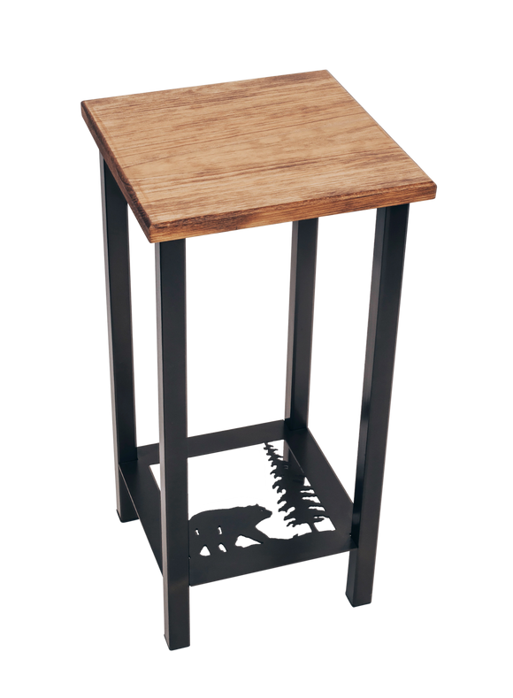 Black/Stain Square Iron Drink Table with Bear /Tree Accent and Wood Top