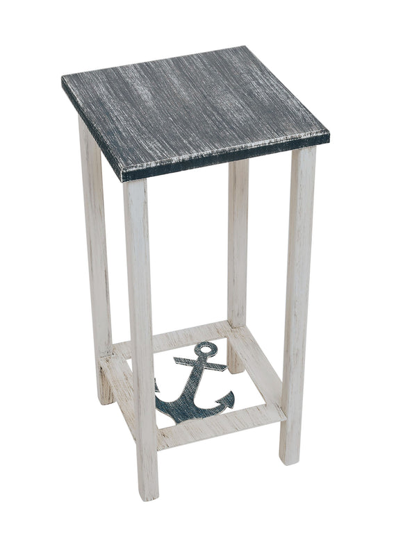 Cottage/Navy Square Iron Drink Table with Anchor Accent and Wood Top