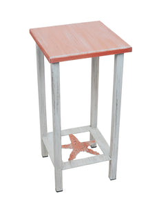 Cottage/Coral Square Iron Drink Table with Starfish Accent and Wood Top