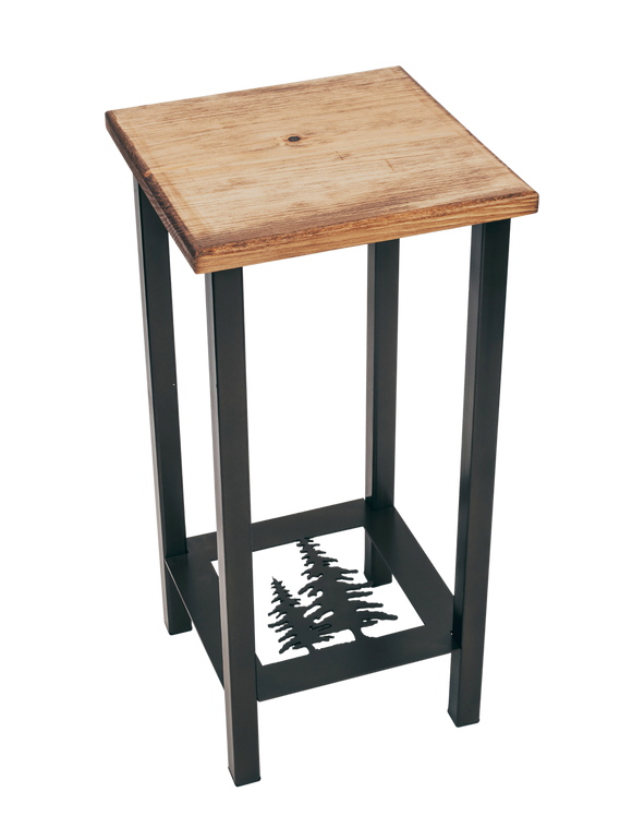 Black/Stain Square Iron Drink Table with Feather Tree Accent and Wood Top