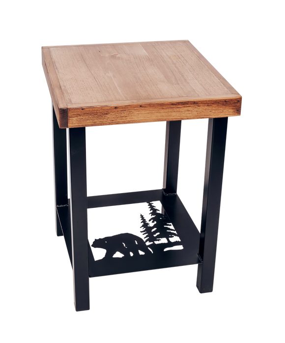 Black/Stain Square Iron End Table with Bear Scene Accent and Wood Top