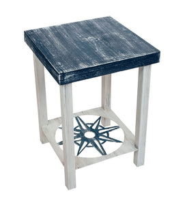 Cottage/Navy Square Iron End Table with Nautical Compass Accent and Wood Top