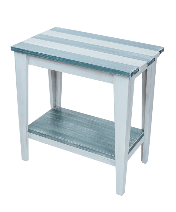 Cottage/Riverway Stripe Tapered Leg Side Table with Deck Board top and Bottom Shelf
