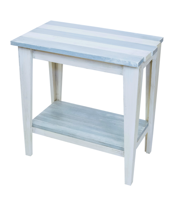 Cottage/Seaside Villa Stripe Tapered Leg Side Table with Deck Board top and Bottom Shelf