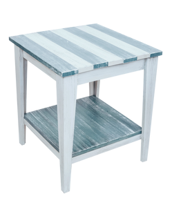"Cottage/Riverway Stripe Tapered Leg 21"" End Table with Deck board top and shelf"