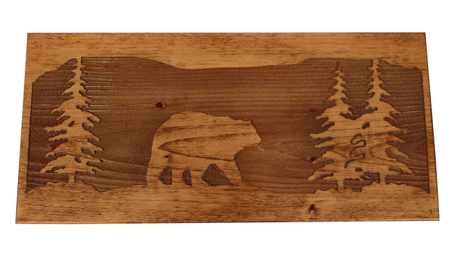 "24"" Wooden Bear Scene Bench - Coast Lamp Shop"