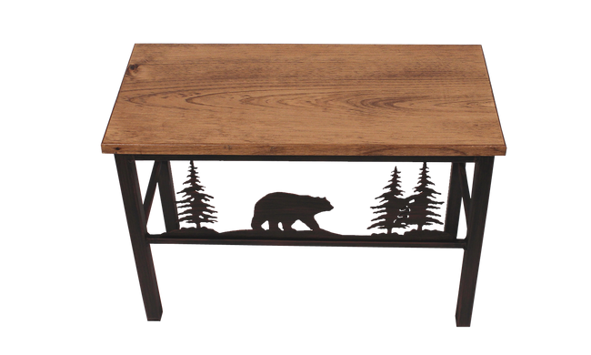 "24"" Iron Bear and Tree Scene Bench- Burnt Sienna - Coast Lamp Shop"