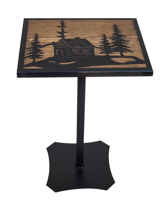 Black/Stain Iron/Wood Drink Table with Cabin Scene Top