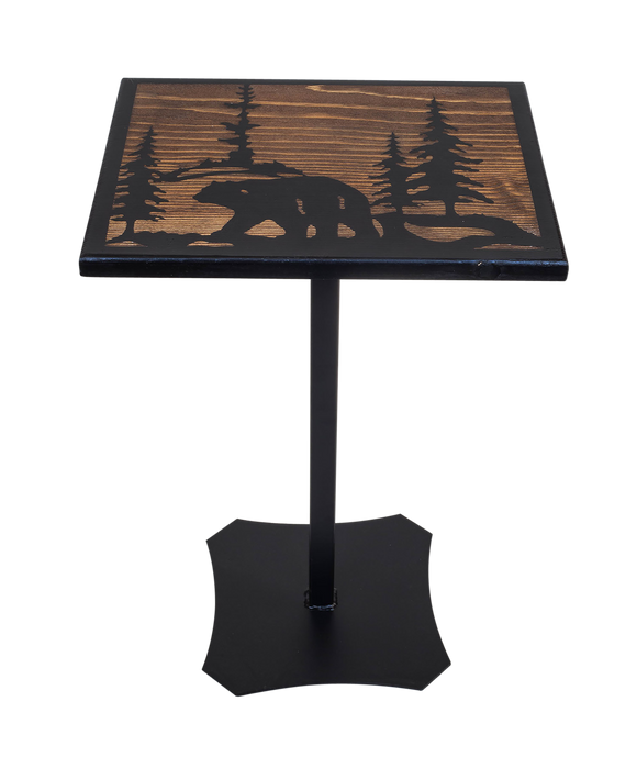 Black/Stain Iron/Wood Drink Table with Bear Scene Top