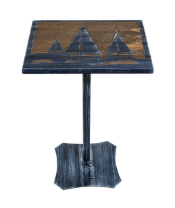 Weathered Navy/Stain Iron/Wood Drink Table with Sailboat Scene Top