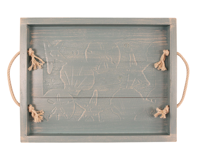 "13""x18"" Wood Tray with Etched Multi Shell Scene and White Rope Handles - Weathered Atlantic Grey - Coast Lamp Shop"