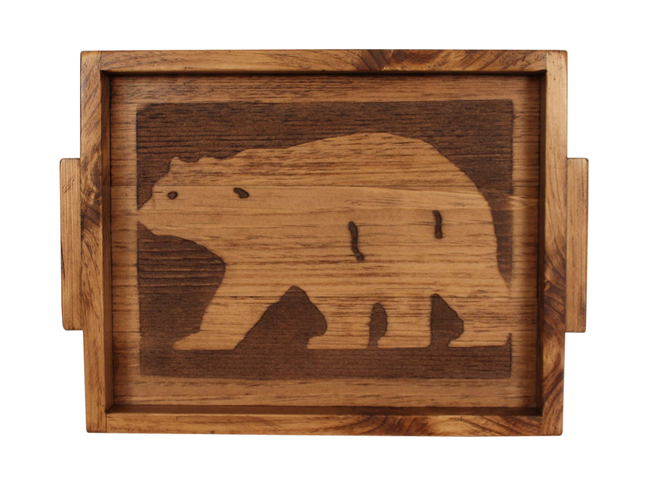 "13""x18"" Wood Tray with Etched Bear Base and Woode Handles- Stained - Coast Lamp Shop"