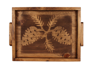 "13""x18"" Wood Tray with Etched Pine Cone Base and Woode Handles- Stained - Coast Lamp Shop"