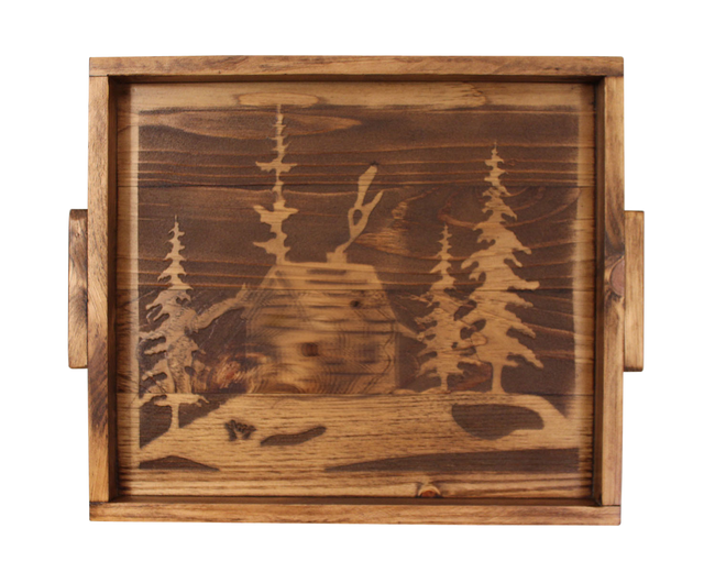 "18""x20"" Wood Tray with Etched Cabin Scene Base and Wood Handles- Stain - Coast Lamp Shop"