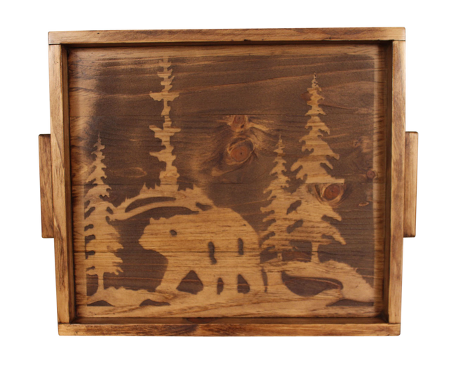 "18""x20"" Wood Tray with Etched Bear Scene Base and Wood Handles- Stain - Coast Lamp Shop"