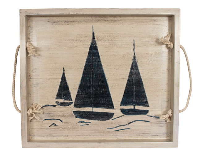 "18""x20"" Wood Tray with etched Sailboat Base and White Rope Handles- Nautical - Coast Lamp Shop"