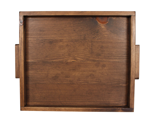 "18""x20"" Wood Tray with Slatted Base and Wood Handles- Dark Stain - Coast Lamp Shop"