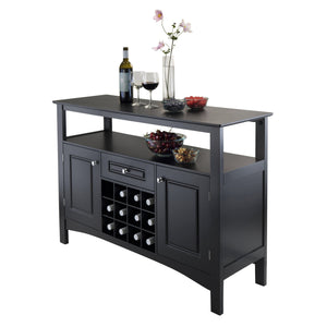 JASPER 12-Bottle Bar Storage Buffet Cabinet Black - barsforhomes.com