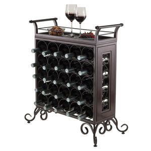 SLIVANO 25-Bottle Bar Rack-Removable Tray Antique Bronze/Walnut - barsforhomes.com