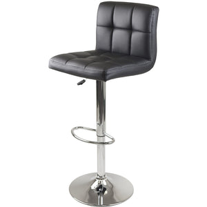 STOCKHOLM High Back Grid Pattern Faux Leather Barstool Black/Chrome - barsforhomes.com