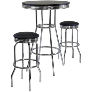 SUMMIT 3-Pc Round Table with two Swivel Barstools Pub Set Black/Chrome - barsforhomes.com