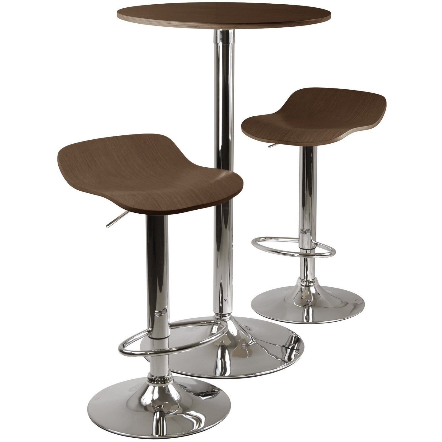 KALLIE 3-PC Pub Table and two barstools Set Capuccino/Chrome - barsforhomes.com