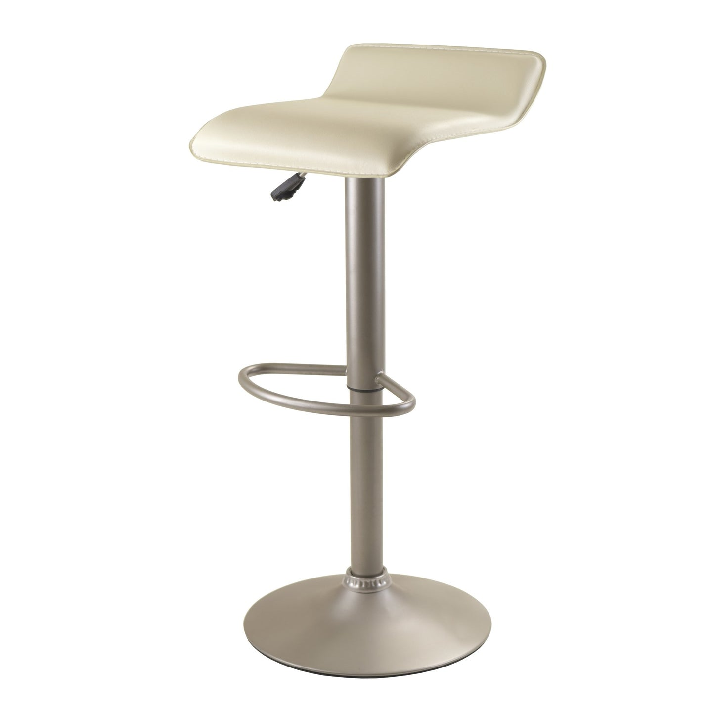 SPECTRUM Low Back Faux Leather Airlift Barstool Beige/Chrome - barsforhomes.com