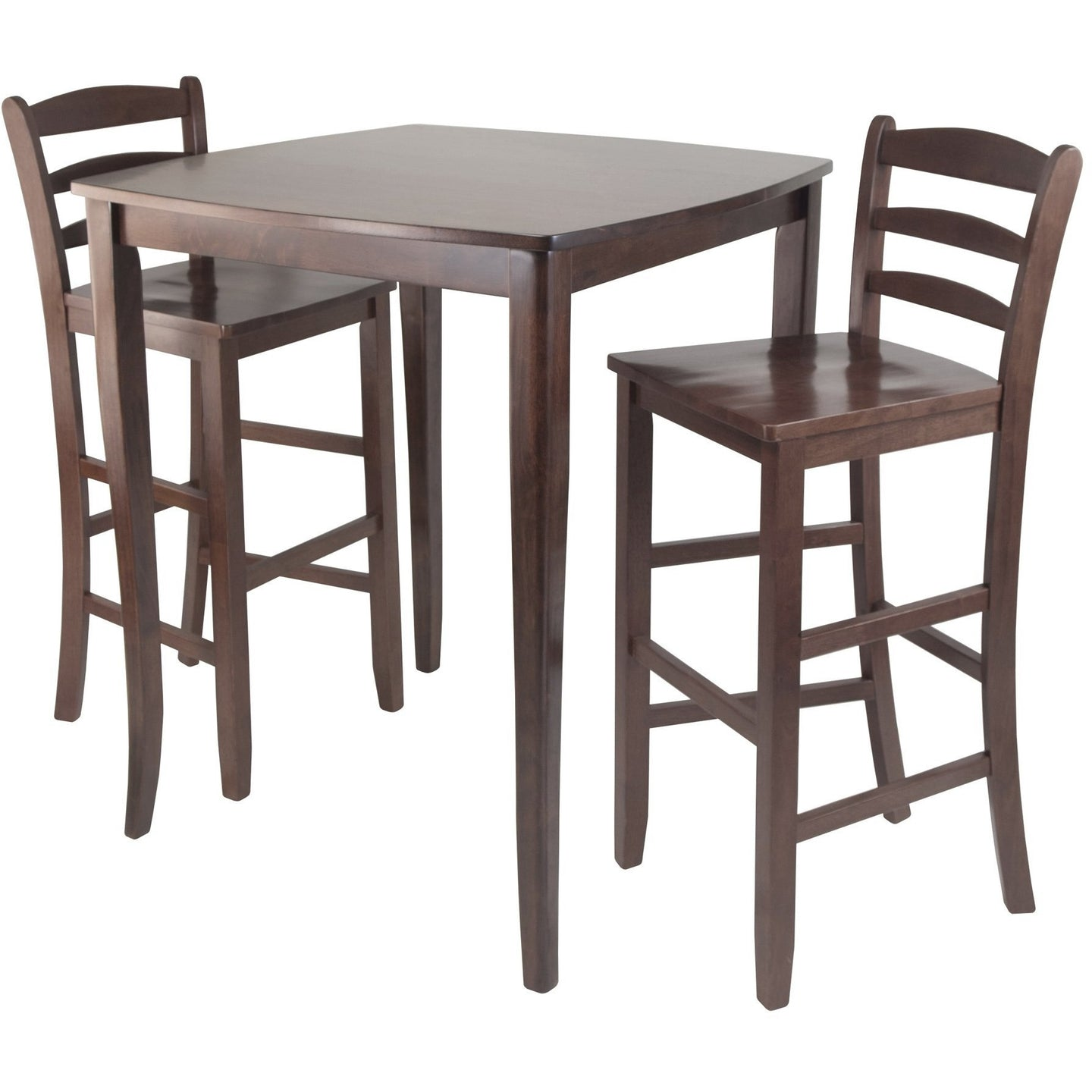 INGLEWOOD 3-Pc High Pub Table Set with Benjamin Barstools Walnut - barsforhomes.com