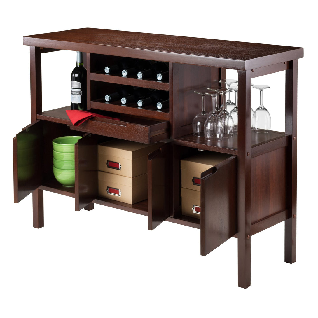 DIEGO 8-Bottle Bar Storage Buffet Cabinet Walnut - barsforhomes.com