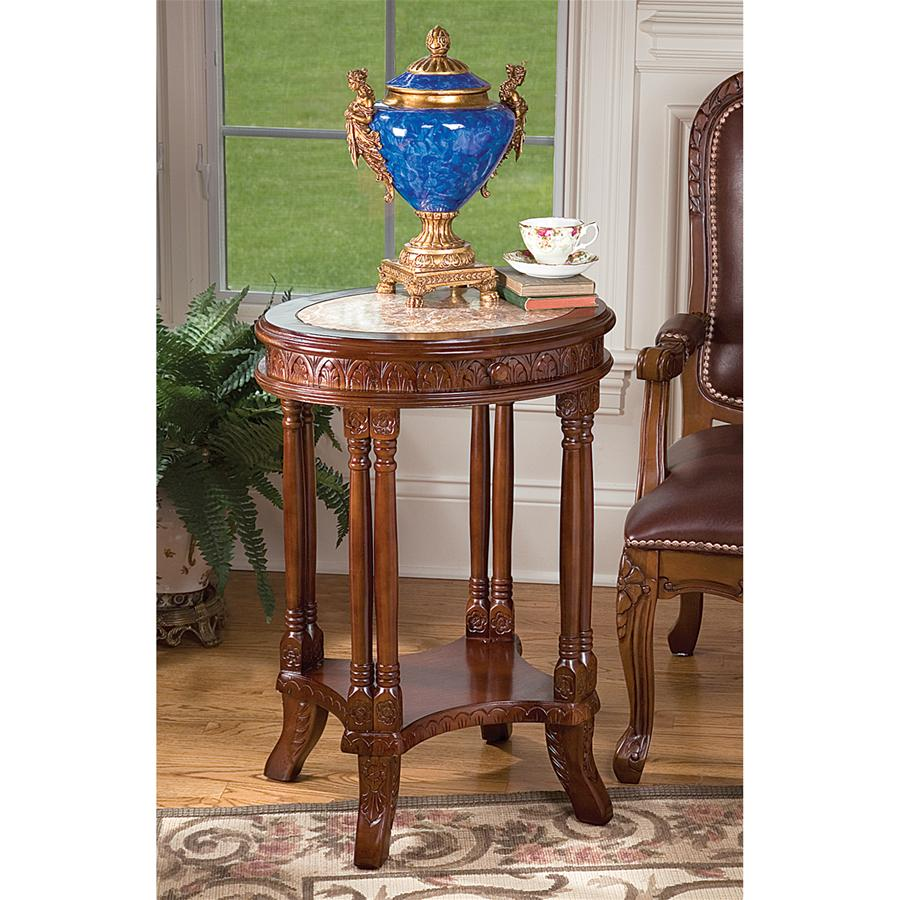 BALFOUR INLAID MARBLE COLONNADE TABLE(Available 11/30/18)