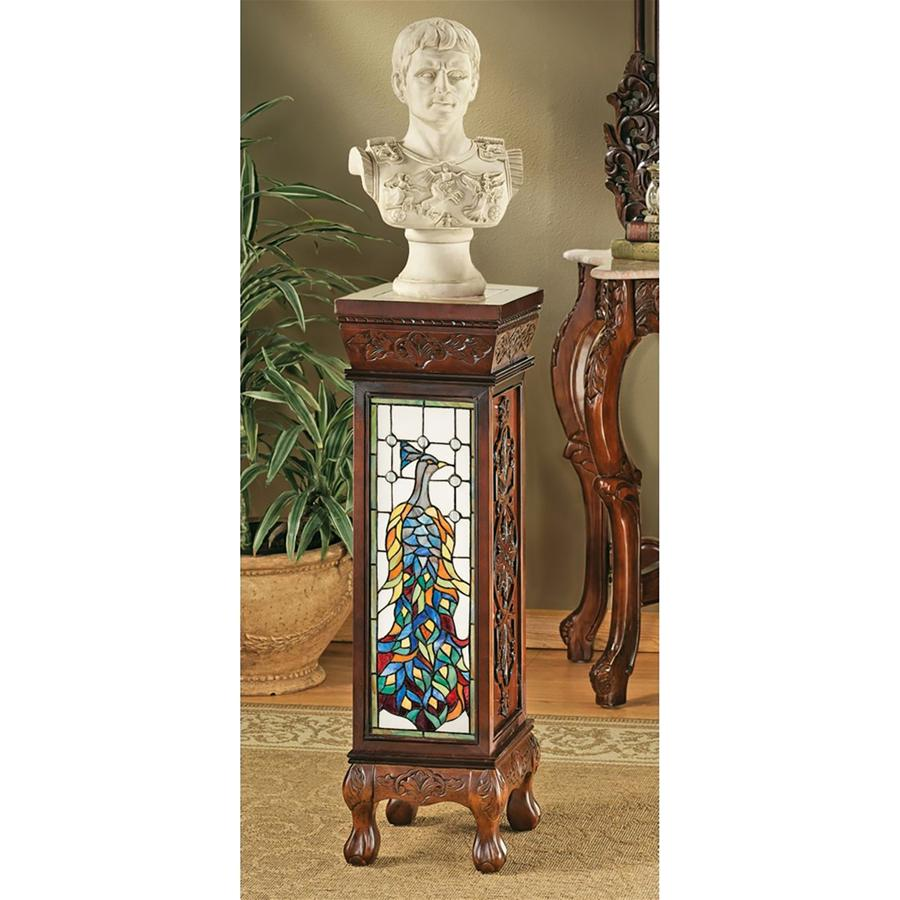 PEACOCK STAINED GLASS PEDESTAL(Available 11/30/18)