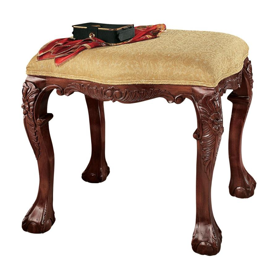 FRENCH BAROQUE UPHOLSTERED 4 LEG BENCH(Available 12/07/18)